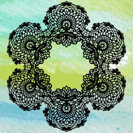 Elegant lacy doily  Crochet mandala  Vector