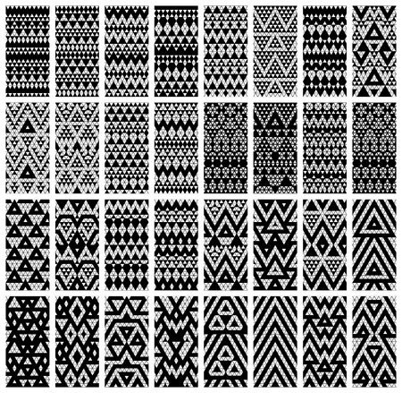 ethno: Tribal monochrome lace patterns  Vector illustration  Illustration
