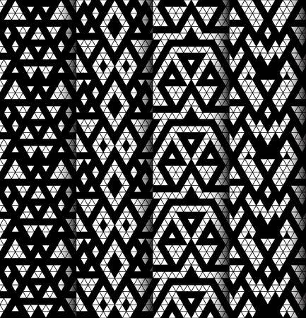 ethno: Tribal monochrome lace patterns  Vector illustration  Illustration