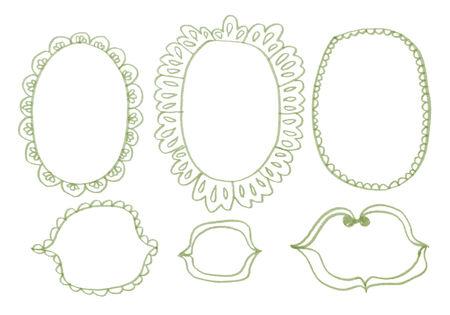 hand mirror: Hand drawn felp-tip pen frames. Vector illustration.