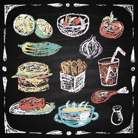 soup and salad: Chalk on board. Vector illustration.