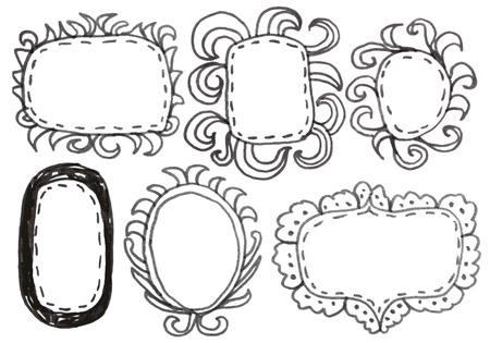 Hand drawn felp-tip pen frames. Vector illustration. Vector
