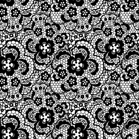 black lace: Lace black seamless pattern with flowers on white background