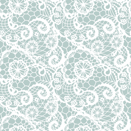 womanly: Lace seamless pattern with flowers on blue background