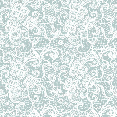 lace pattern: Lace seamless pattern with flowers on blue background