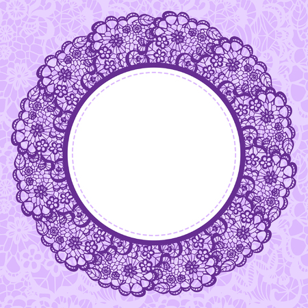 round shape: Elegant doily on lace gentle background for scrapbooks Illustration