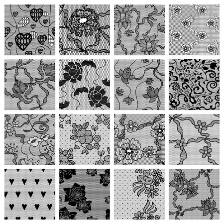 Big set of lacy seamless patterns  Vector illustration