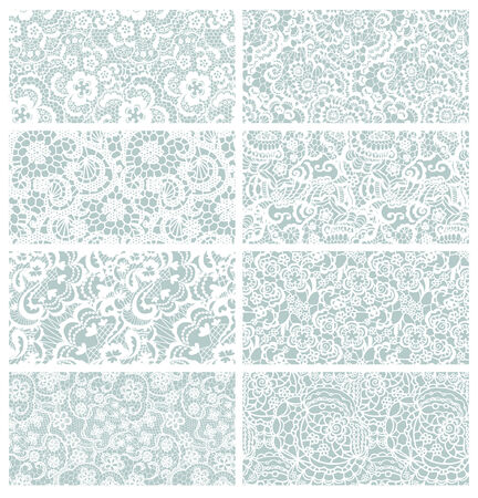 Lace seamless patterns with flowers on blue background Vector