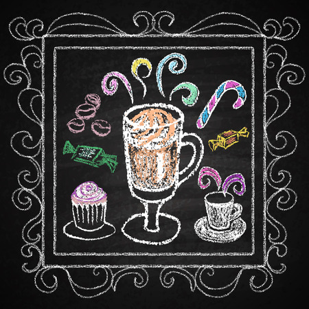 Chalk on board  Cup of coffee  Vector illustration  Vector