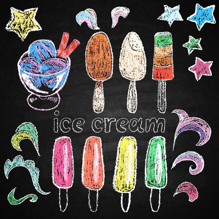 Chalk on board  Ice cream  Vector illustration  Vector