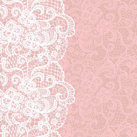 embroidery on fabric: Vertical seamless background with a floral lace ornament