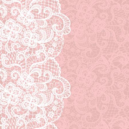 rosa: Vertikale nahtlose Hintergrund mit einem floralen Spitze Ornament