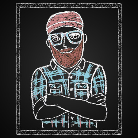 Hand drawn hipster portrait  Chalk on board  Vector illustration  Vector