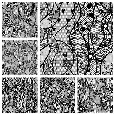 black lace: Big set of lacy seamless patterns  Vector illustration