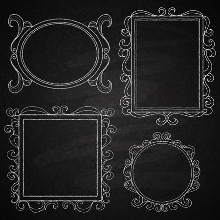chalk outline: Chalk on board  Set of frames  Vector illustration  Illustration