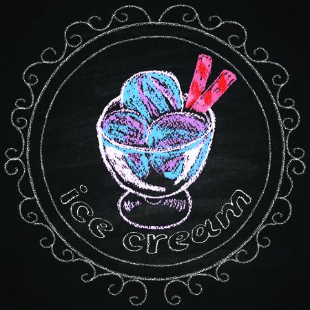 icecream: Chalk on board  Ice cream  Vector illustration