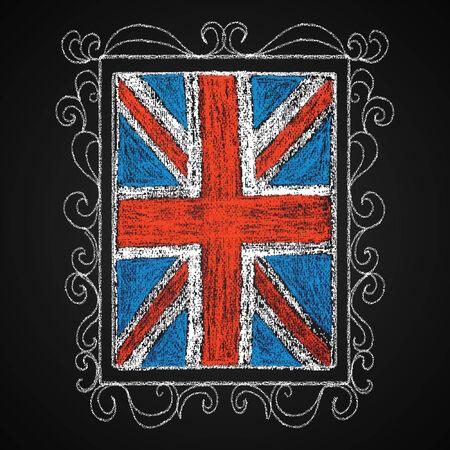 british culture: Chalk on board  British flag in frame  Vector illustration