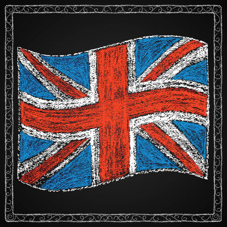 Chalk on board  British flag in frame  Vector illustration  Vector
