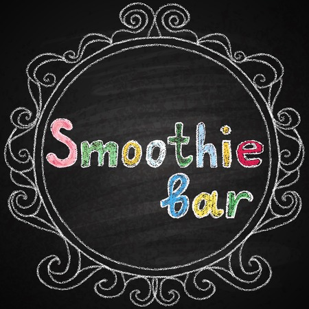 fruit smoothie: Chalk on board. Smoothie bar. Lettering.