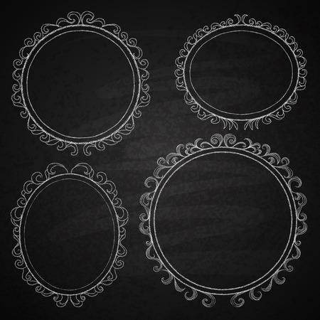 chalk outline: Chalk on board. Set of frames. Vector illustration.