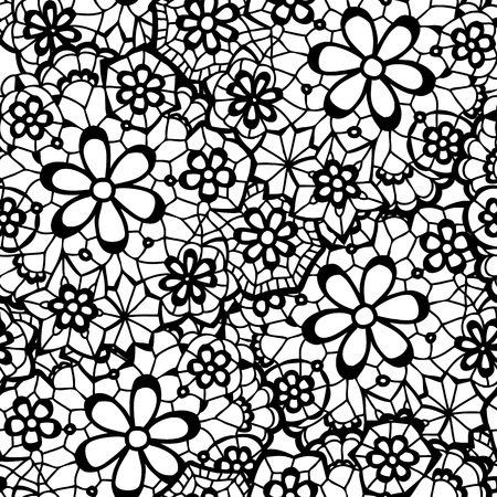 needlecraft: Lace black seamless pattern with flowers on white background