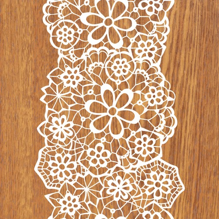 White lace on tree texture. Vector