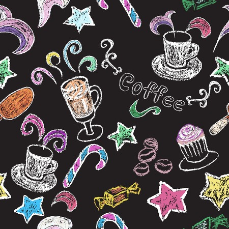 Chalk on board. Cup of coffee. Vector illustration. Seamless pattern.