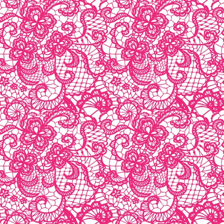 Lace pink seamless pattern with flowers on white background Vector