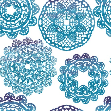 doilies: Seamless pattern. Elegant lacy watercolor doilies. Vector template.