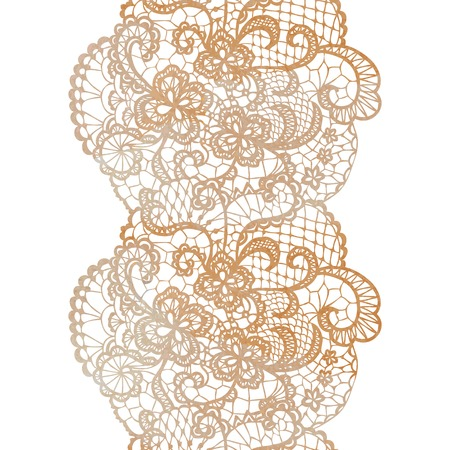 trims: Lacy elegant watercolor border. Lacy vintage trim. Vector illustration. Illustration