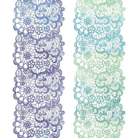 lacy: Lacy elegant watercolor border. Lacy vintage trim. Vector illustration. Illustration