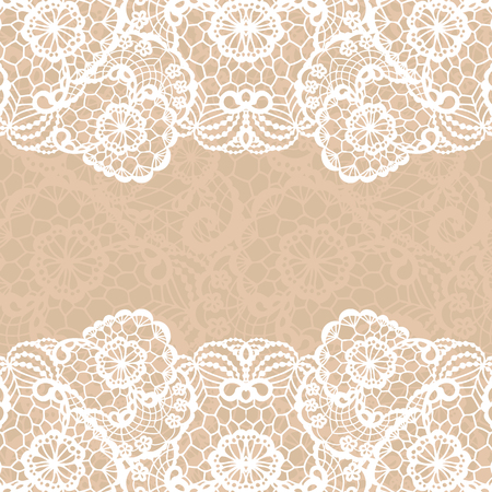 lace border: Vector black lace on texture, template.