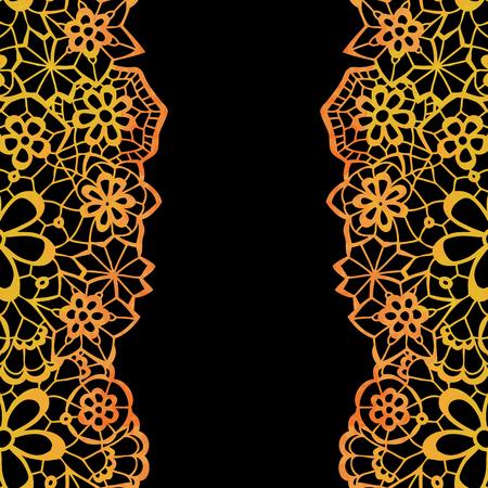 black lace: Lacy elegant frame. Invitation card. Vector illustration.