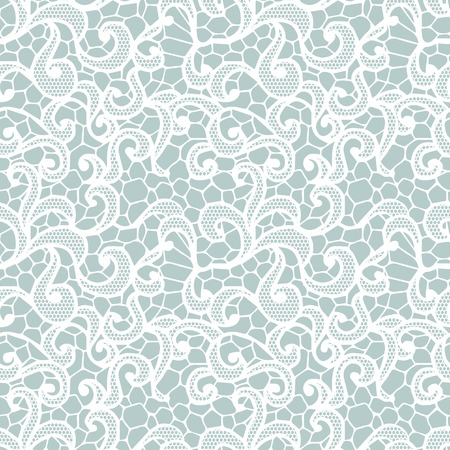 womanly: White lace seamless pattern with flowers on beige background Illustration