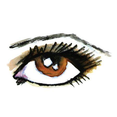 make up eyes: Watercolor eye. Make up. Vector illustration. Illustration