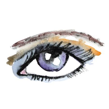 eye make up: Watercolor eye. Make up. Vector illustration. Illustration