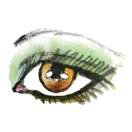 face painting: Watercolor eye. Make up. Vector illustration. Illustration