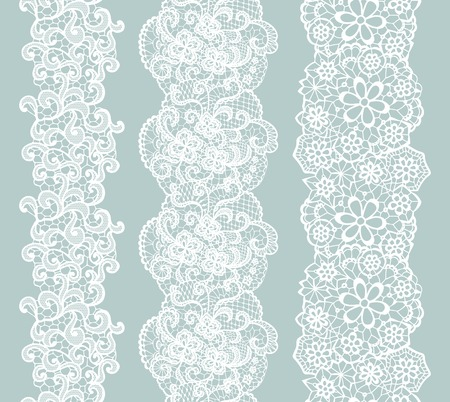 flower borders: White lacy vintage elegant trim. Vector illustration.