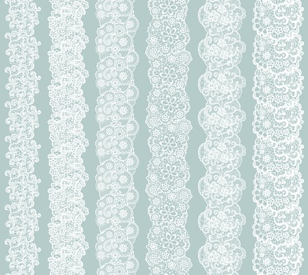with sets of elements: White lacy vintage elegant trim. Vector illustration.