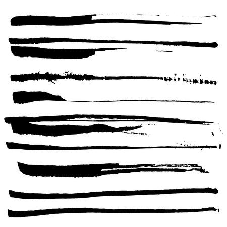 Set of black ink brushes. Vector brushes.