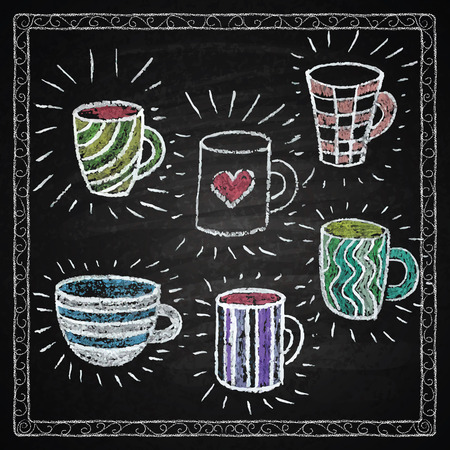 Chalk on board. Collection of mugs. Vector illustration.