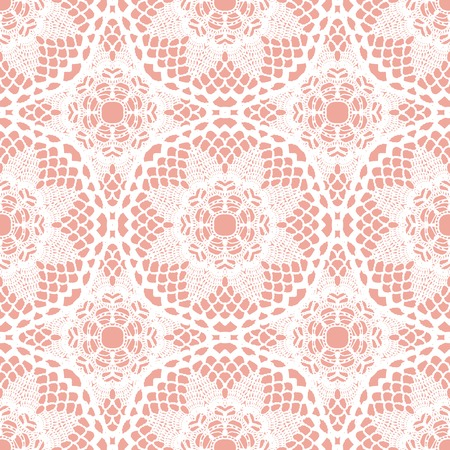 Lace white seamless mesh pattern. Vector illustration. Ilustrace