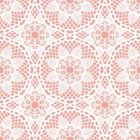 Lace white seamless mesh pattern. Vector illustration. Иллюстрация
