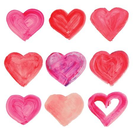 Aquarel hand getrokken hart. Vector illustratie.