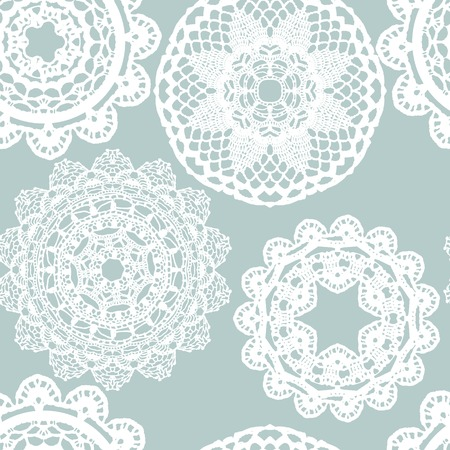 lace fabric: Lace white seamless mesh pattern. Vector illustration. Illustration