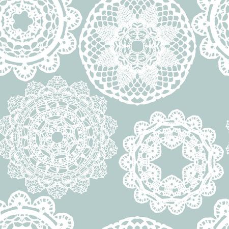 Lace white seamless mesh pattern. Vector illustration. Vettoriali