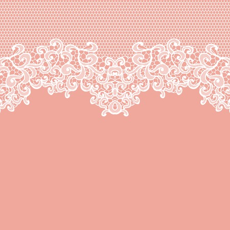 flower borders: White vector lace on texture, template.