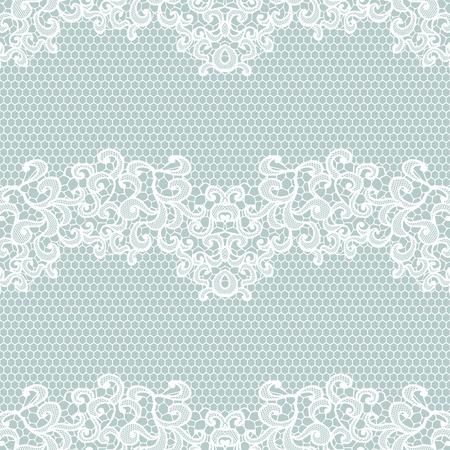 encaje: Encaje blanco sin patr�n con flores sobre fondo azul