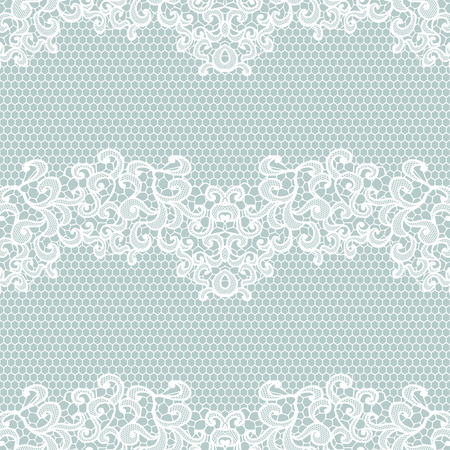 White lace seamless pattern with flowers on blue background Imagens - 38723228