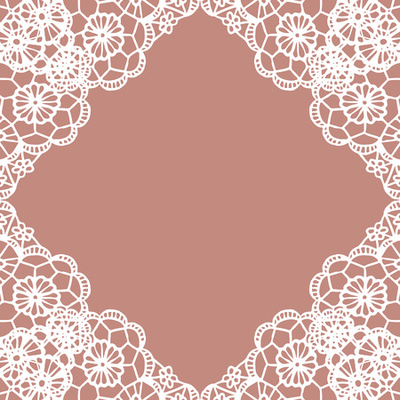 lace vector: Vector white lace vintage frame. Vector illustration.